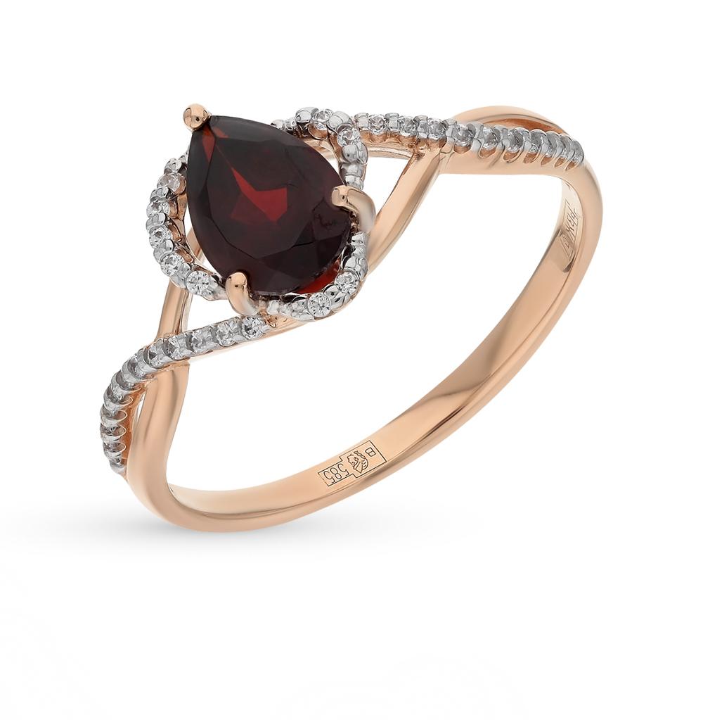золотое кольцо с фианитами и гранатом SOKOLOV 713816*