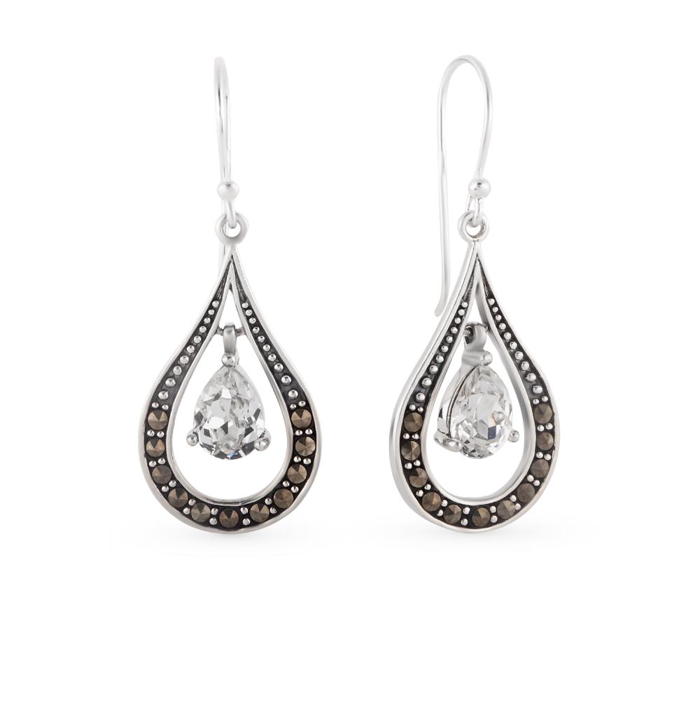 Фото «серебряные серьги с марказитами и кристаллами swarovski»