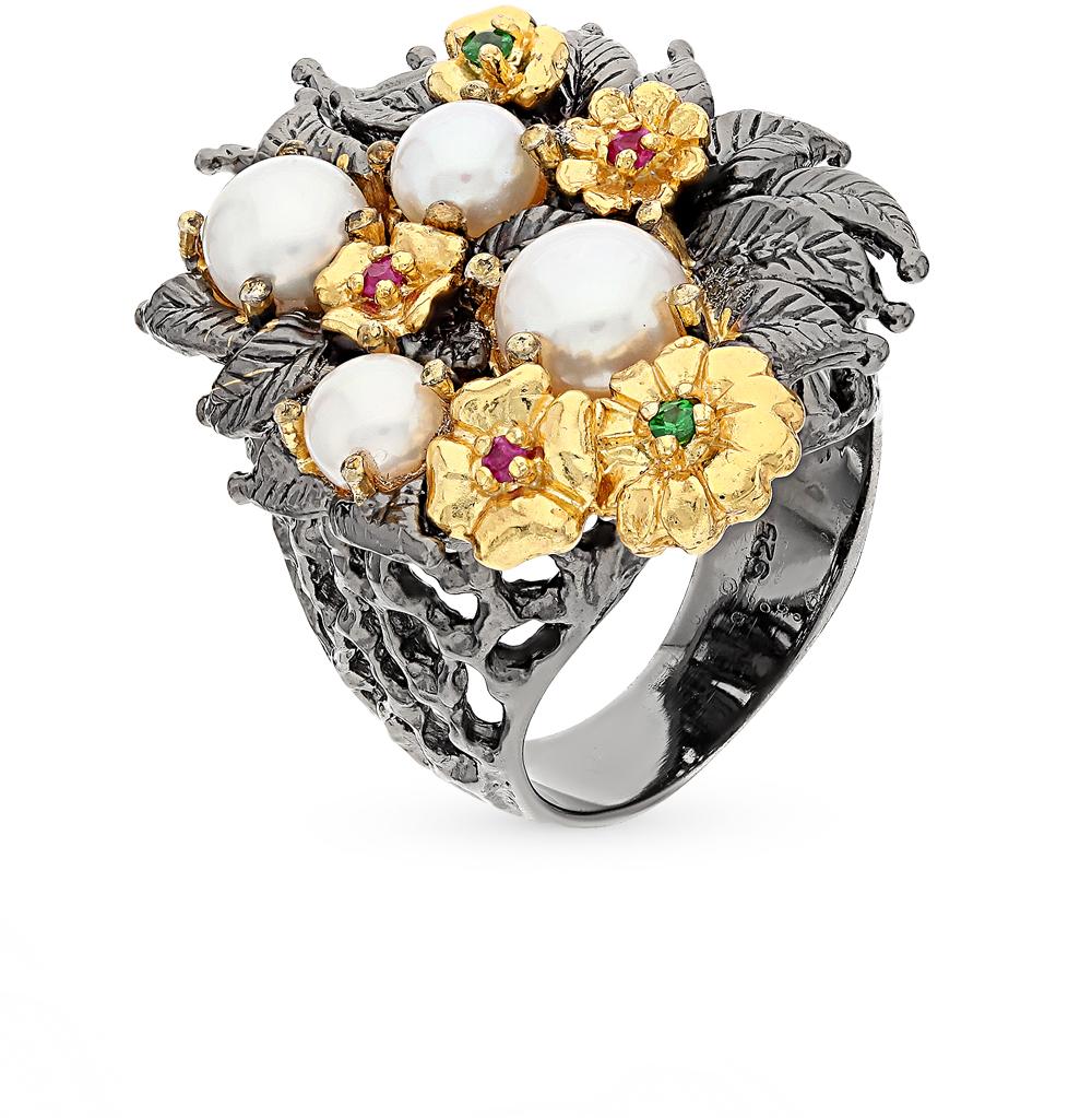 Фото «серебряное кольцо с гранатом, рубинами и жемчугом»