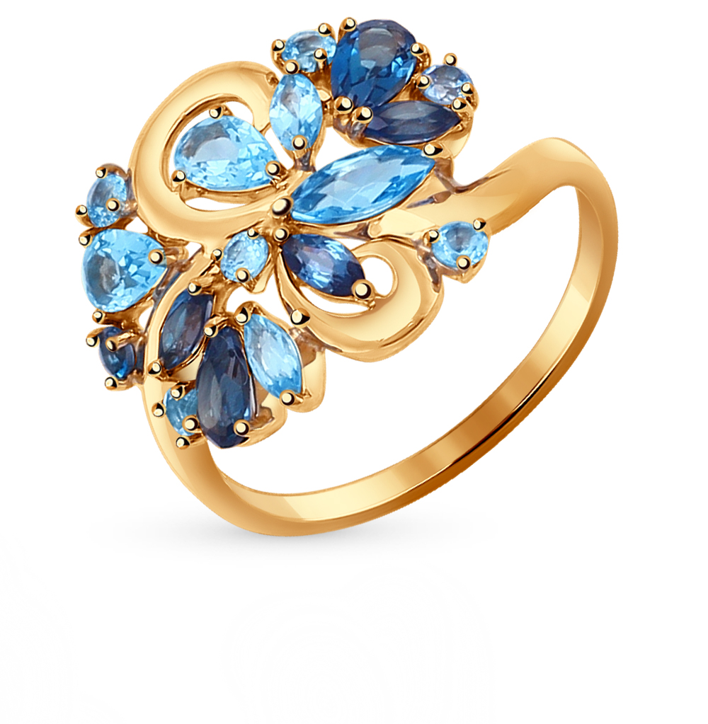 золотое кольцо с топазами SOKOLOV 714364*