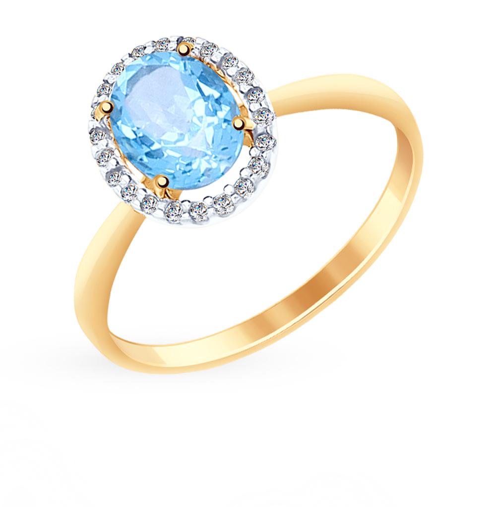 золотое кольцо с топазами и фианитами SOKOLOV 714962*