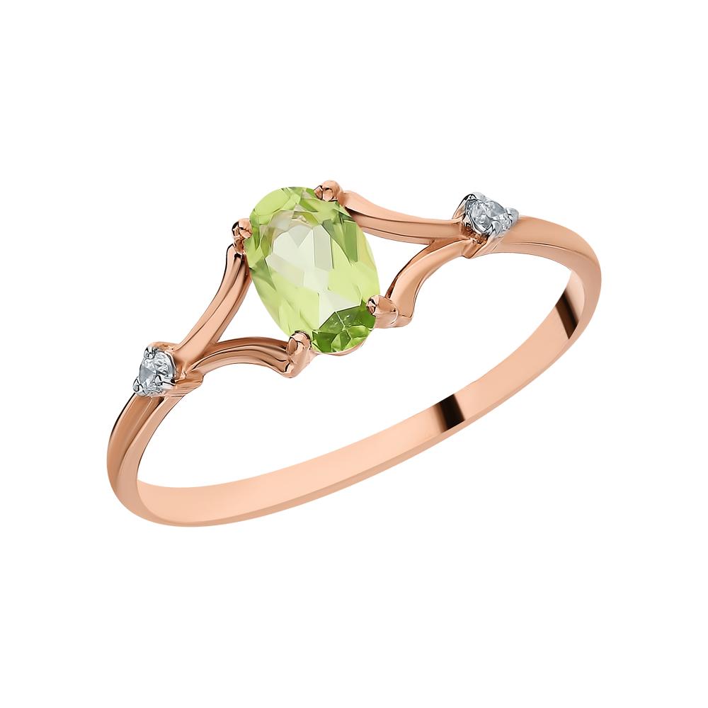 Золотое кольцо с хризолитом и фианитами в Екатеринбурге