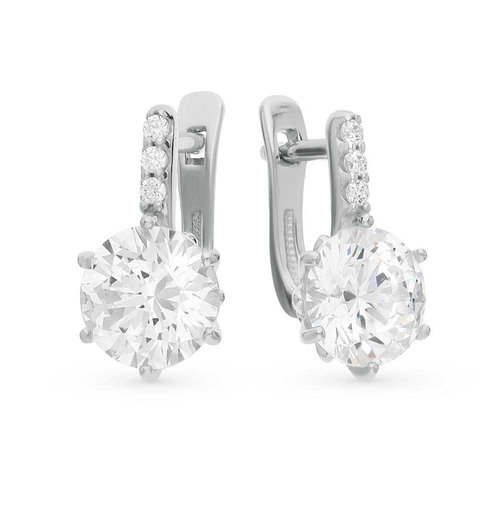 серебряные серьги с кристаллами swarovski SOKOLOV 89020005