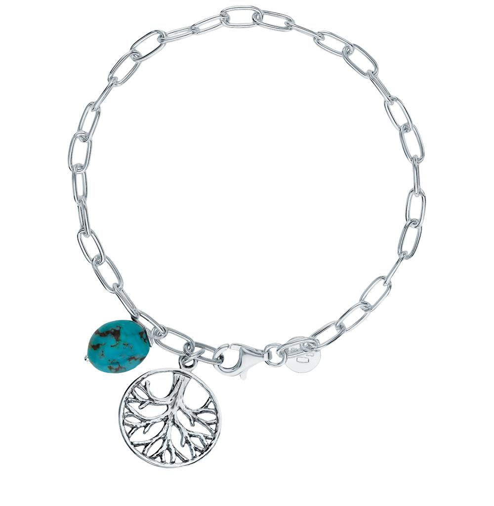 серебряный браслет с бирюзой