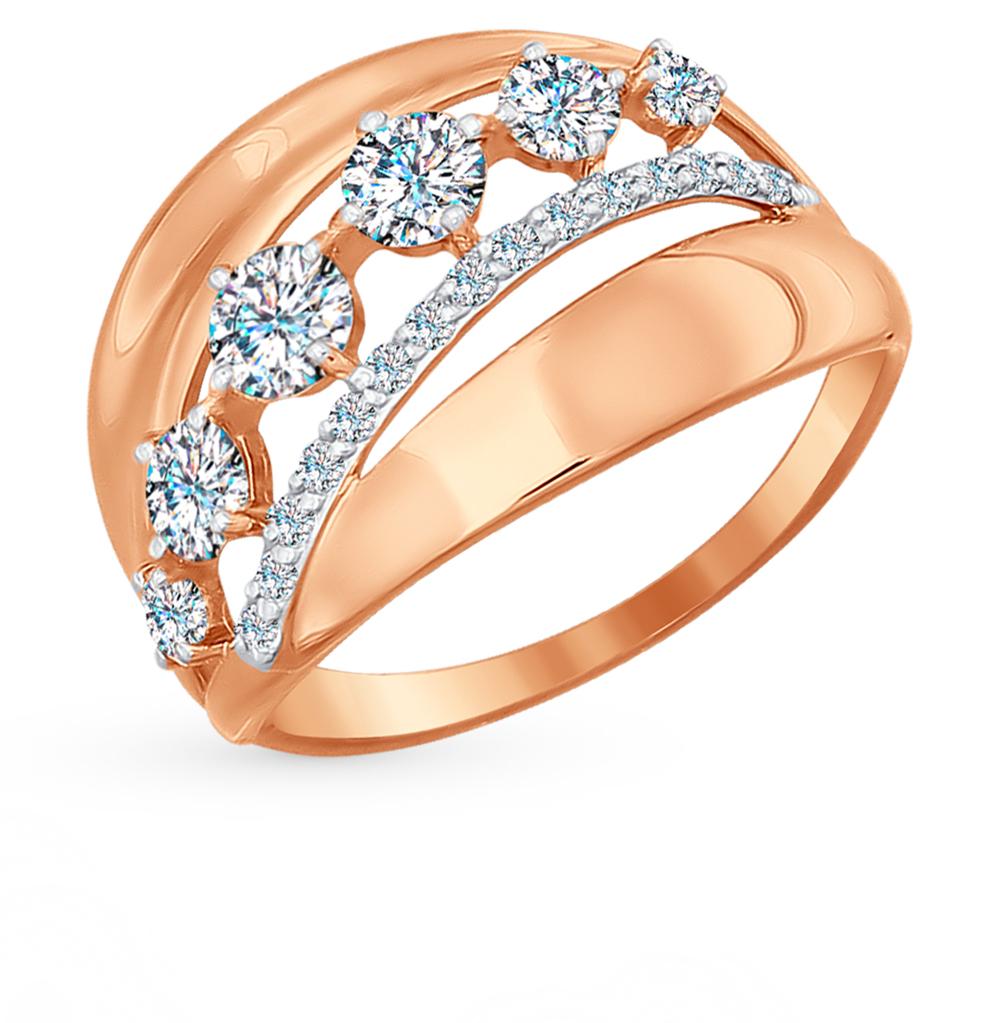 золотое кольцо с фианитами SOKOLOV 017013*