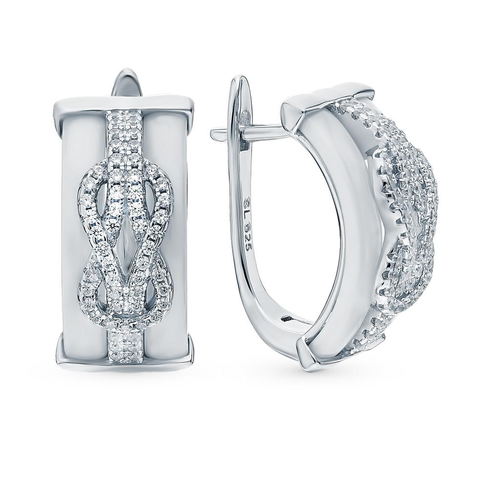Фото «Серебряные серьги с керамикой и фианитами»