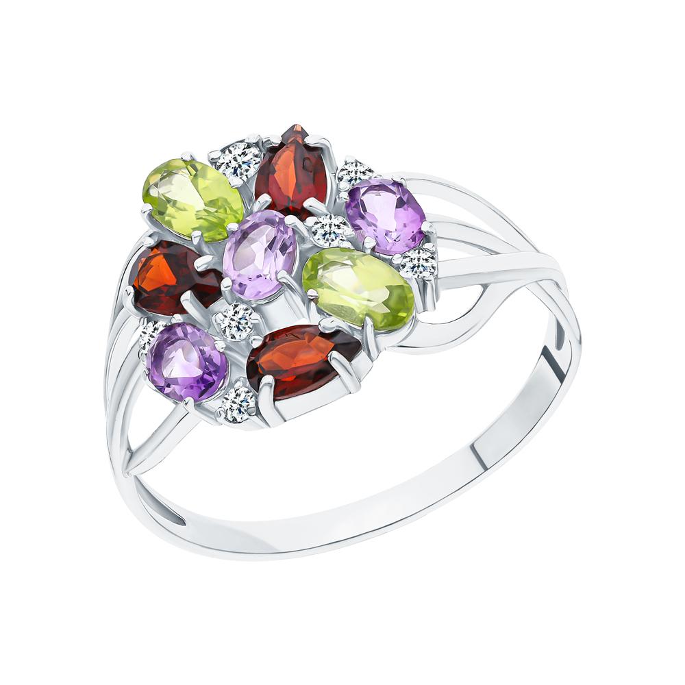 Серебряное кольцо с хризолитом, аметистом, гранатом и кубическими циркониями в Екатеринбурге