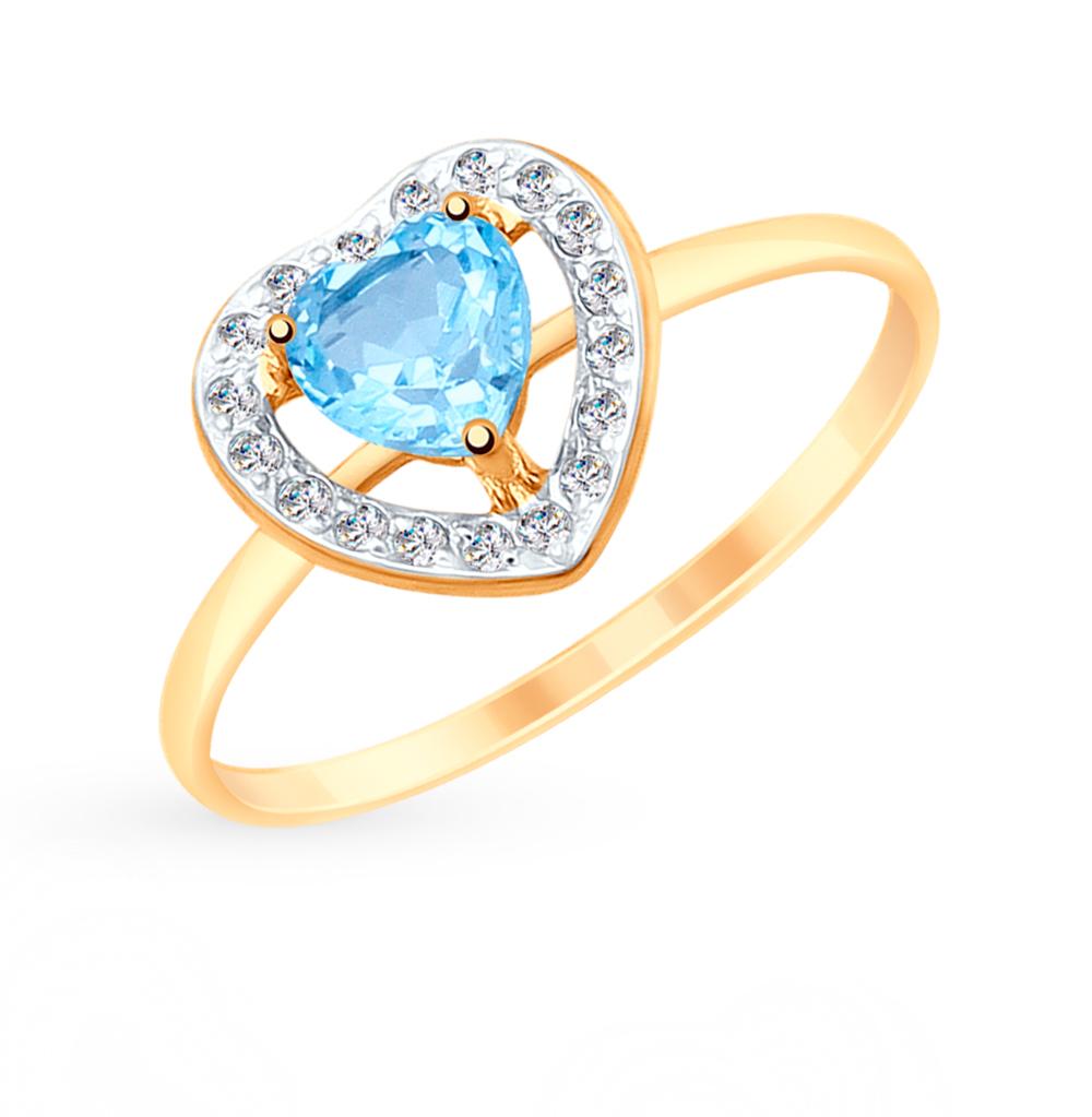 золотое кольцо с топазами и фианитами SOKOLOV 715155*