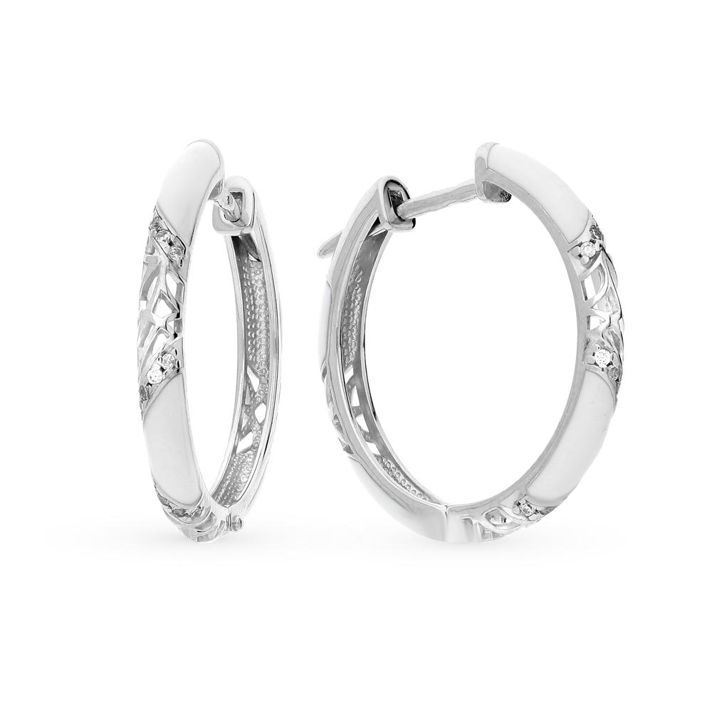 серебряные серьги с фианитами и эмалью SOKOLOV 94021241