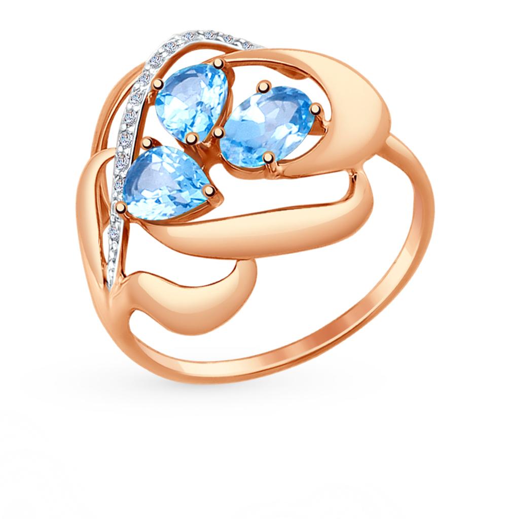 золотое кольцо с топазами и фианитами SOKOLOV 714731*