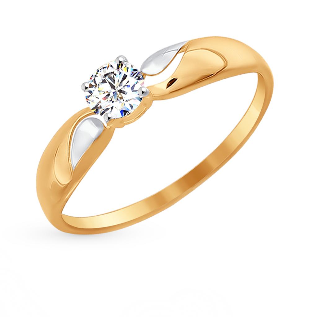 золотое кольцо с фианитами SOKOLOV 016946*