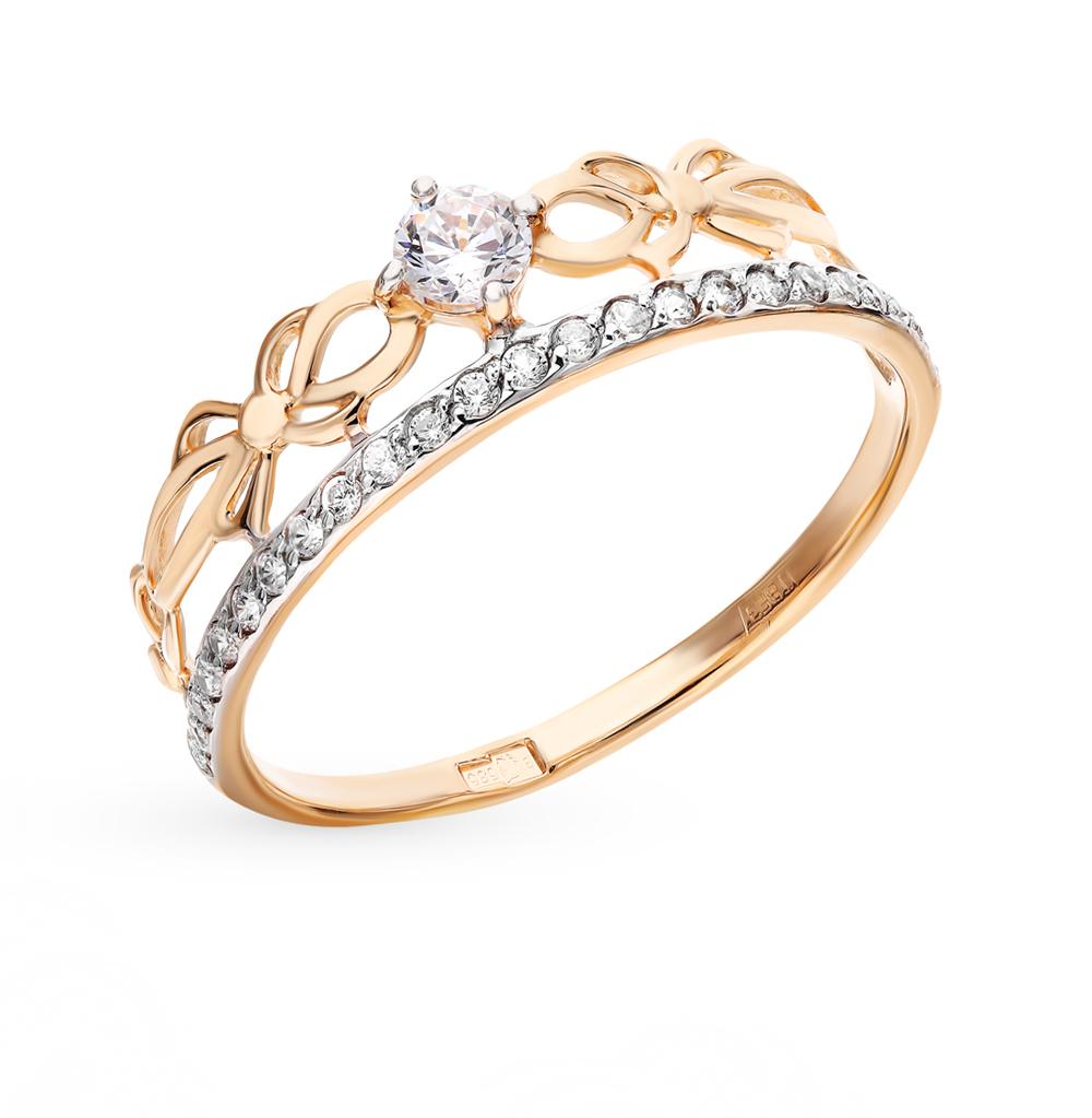 золотое кольцо с фианитами SOKOLOV 017233*