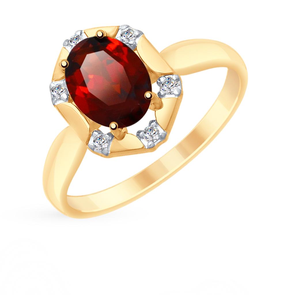 Фото «Золотое кольцо с фианитами и гранатом SOKOLOV 715291*»