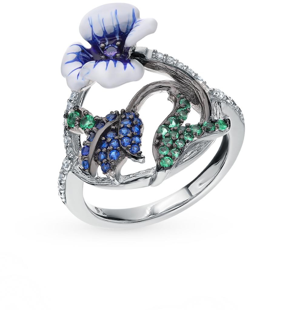 серебряное кольцо со шпинелью и эмалью