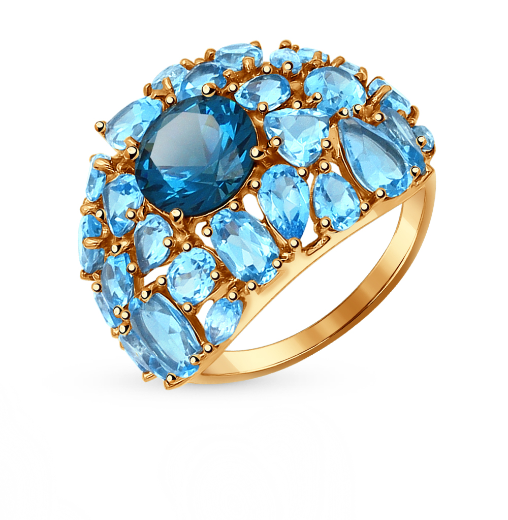Фото «золотое кольцо с ситаллами и топазами»