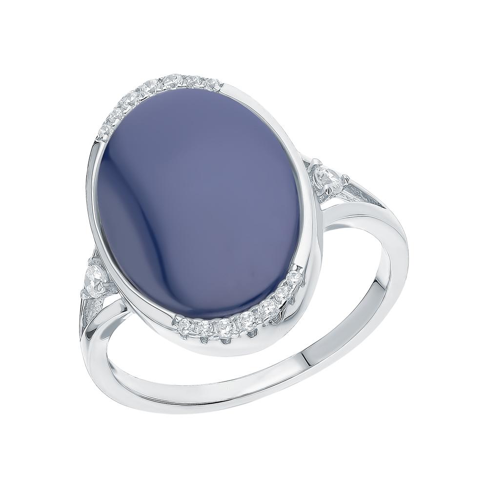 Фото «Серебряное кольцо с керамикой и кубическими циркониями»