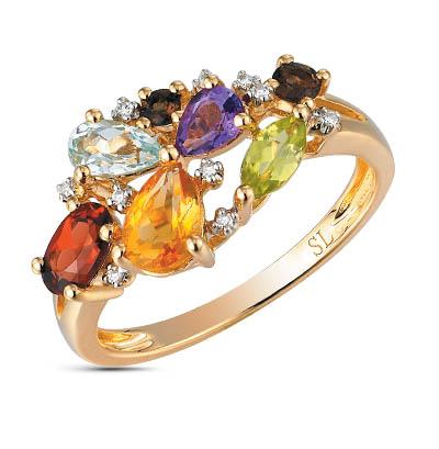 Фото «Золотое кольцо с хризолитом, раухтопазами, аметистом, топазами, гранатом, цитринами и бриллиантами»