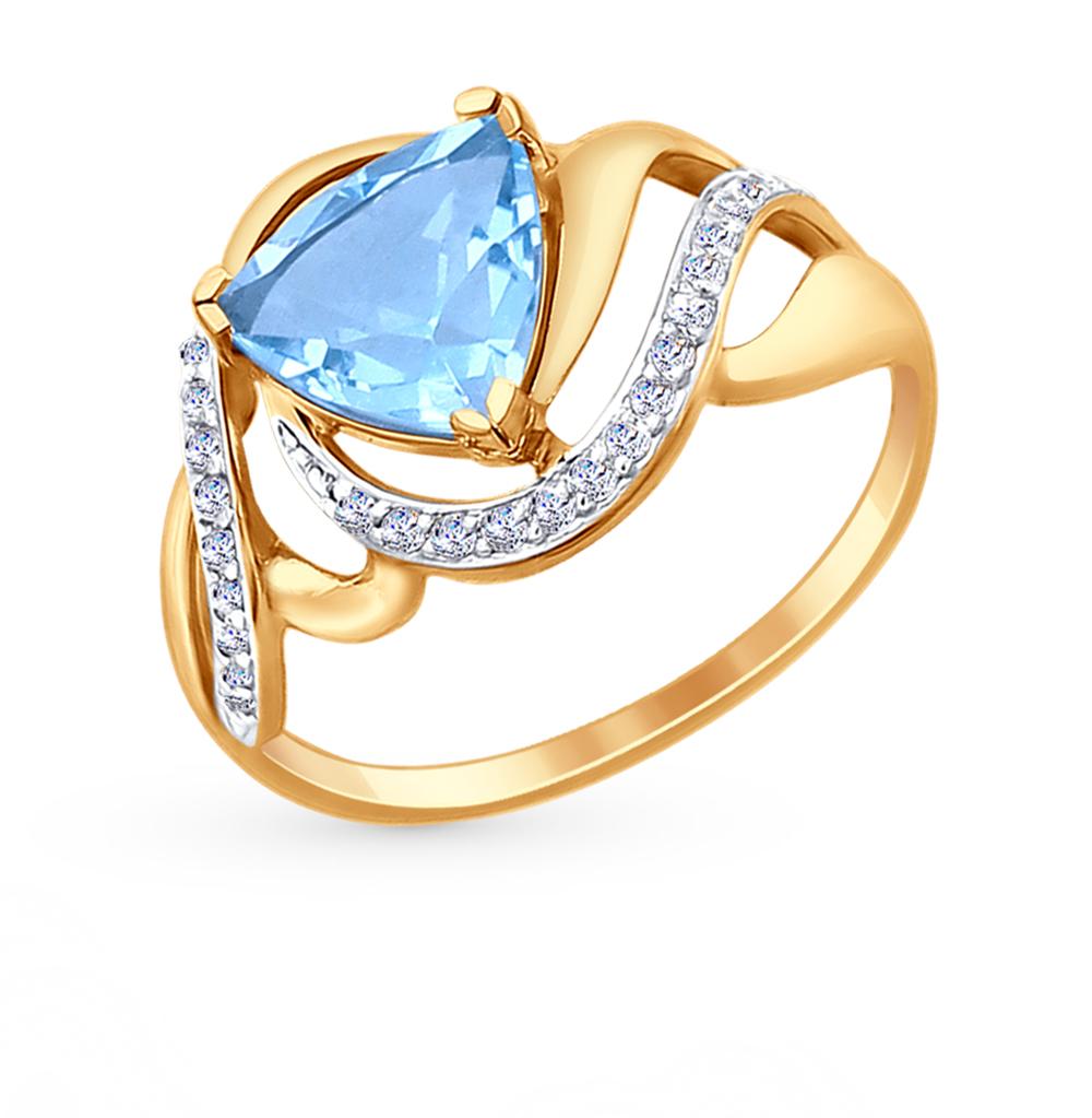 Фото «Золотое кольцо с топазами и фианитами SOKOLOV 714723*»