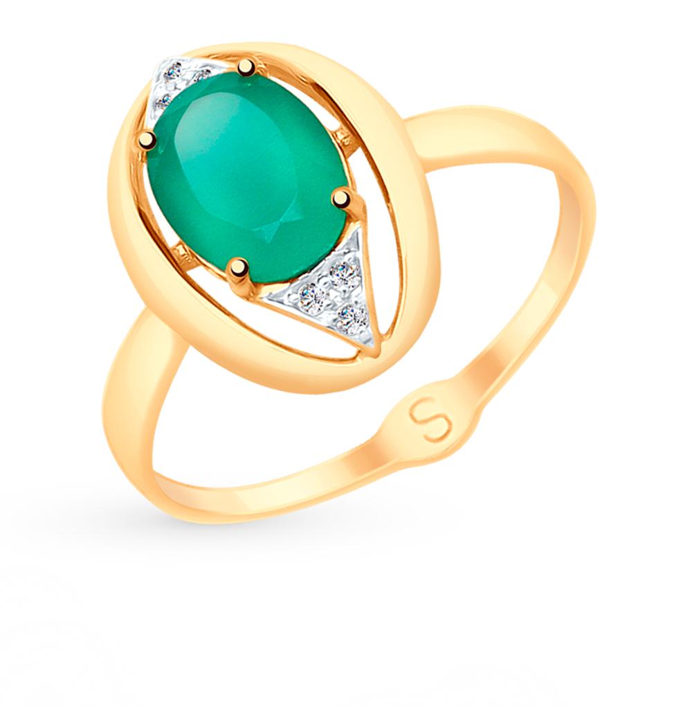 золотое кольцо с фианитами и агатом SOKOLOV 715058*