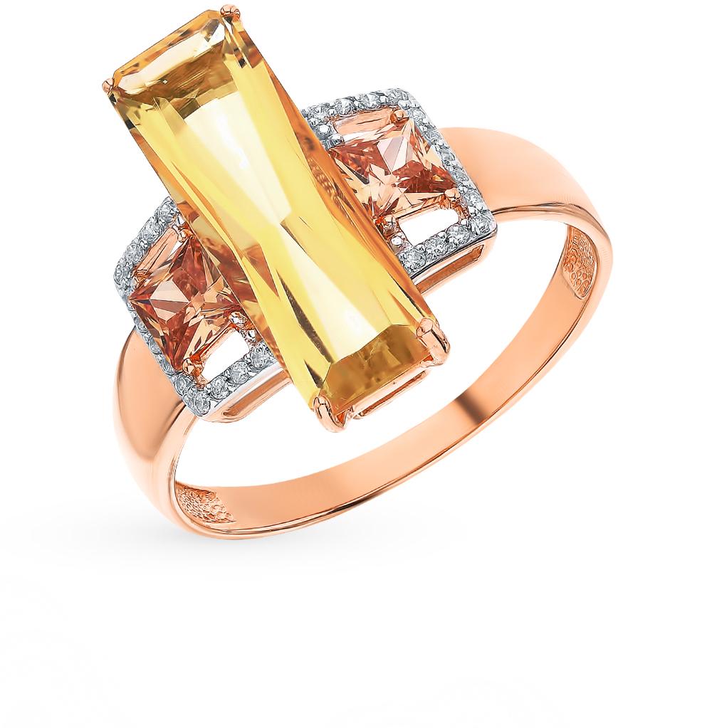 Золотое кольцо с кварцем и фианитами в Екатеринбурге