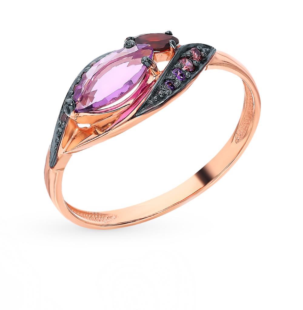 Фото «Золотое кольцо с аметистом, фианитами и гранатом»