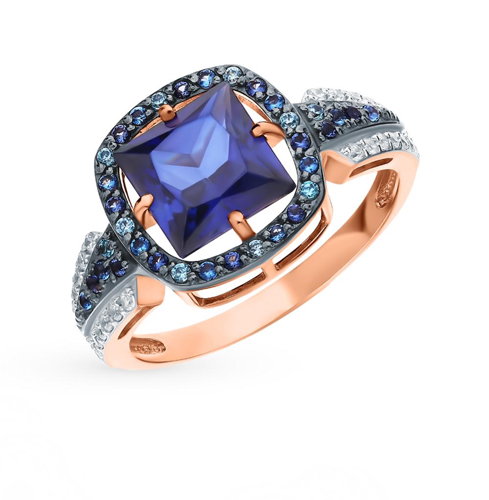 Фото «Золотое кольцо с сапфирами, фианитами и наношпинелями»
