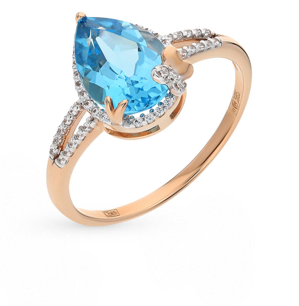 золотое кольцо с топазами и фианитами SOKOLOV 712185*