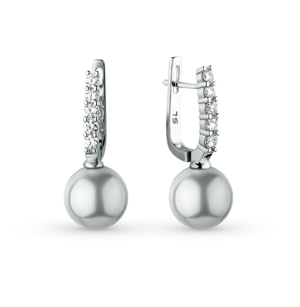 Серебряные серьги с фианитами и жемчугом в Екатеринбурге