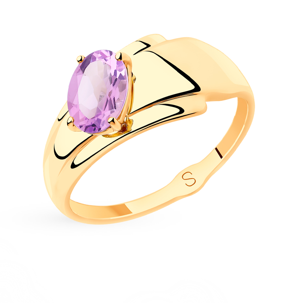 Золотое кольцо с аметистом SOKOLOV 715534* в Санкт-Петербурге