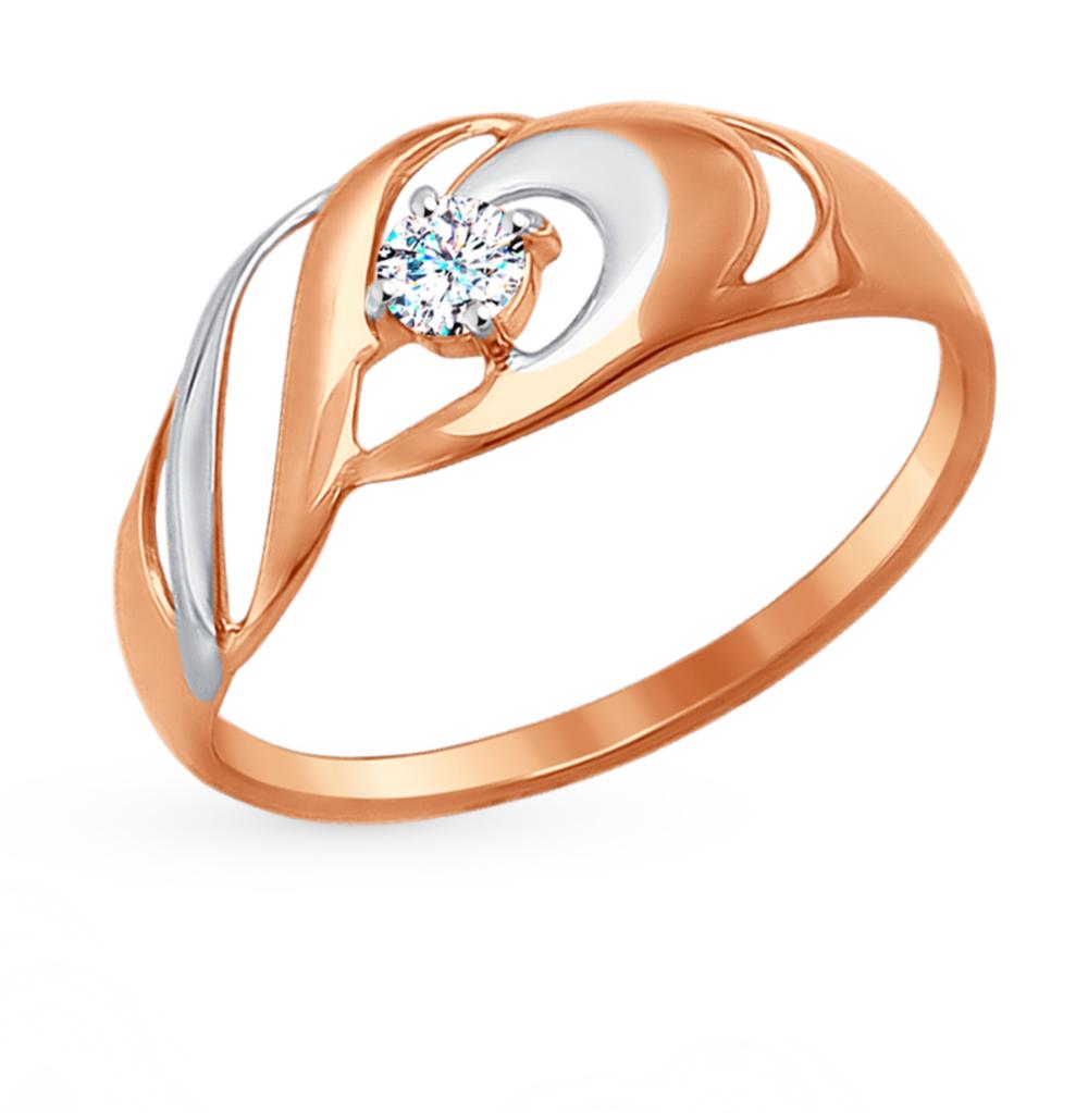 золотое кольцо с фианитами SOKOLOV 017256*