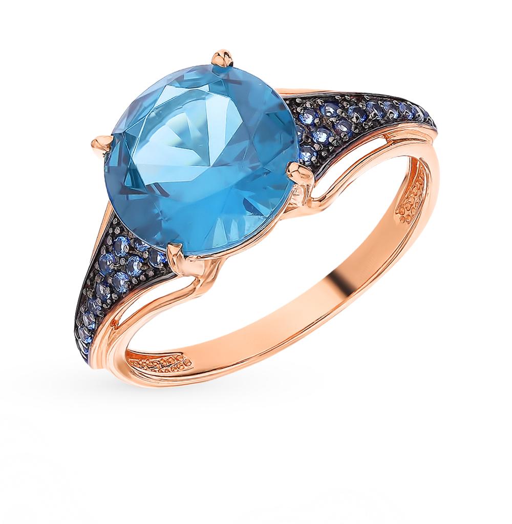 Фото «Золотое кольцо с топазами и наношпинелями»