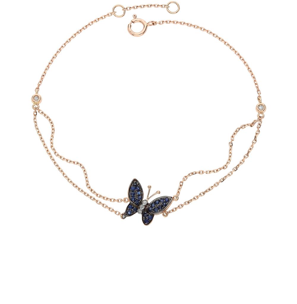 золотой браслет с сапфирами и бриллиантами