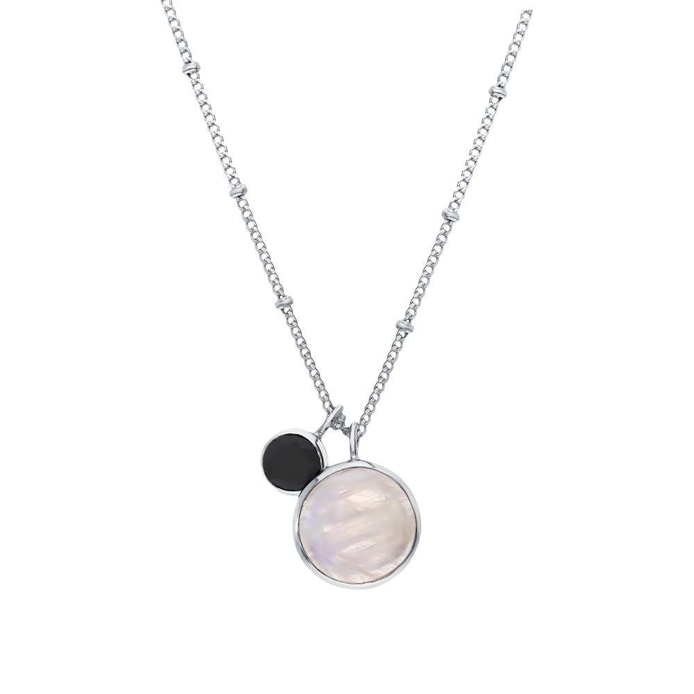 Фото «Серебряное шейное украшение с ониксом и лунными камнями»