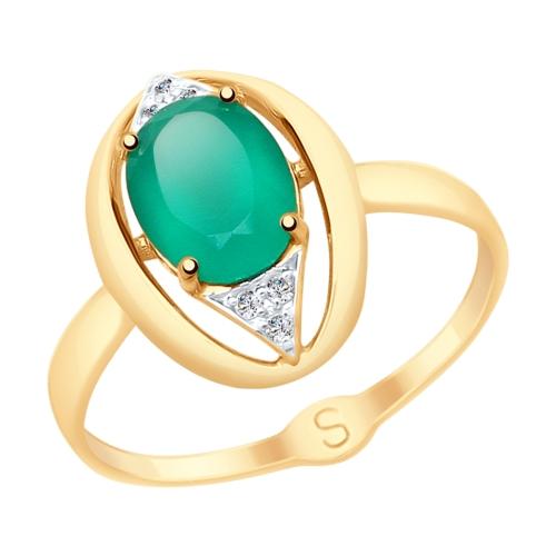 Фото «Золотое кольцо с фианитами и агатом SOKOLOV 715058*»