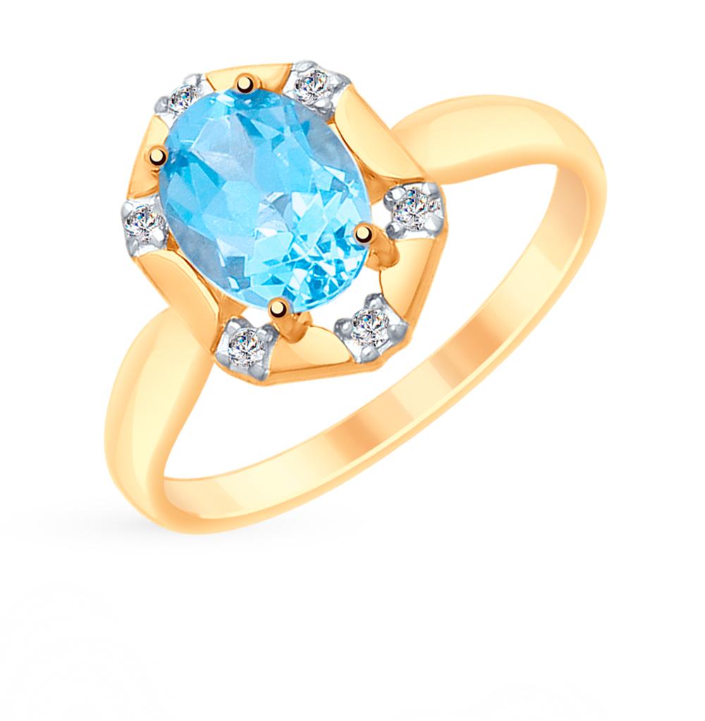золотое кольцо с топазами и фианитами SOKOLOV 715290*