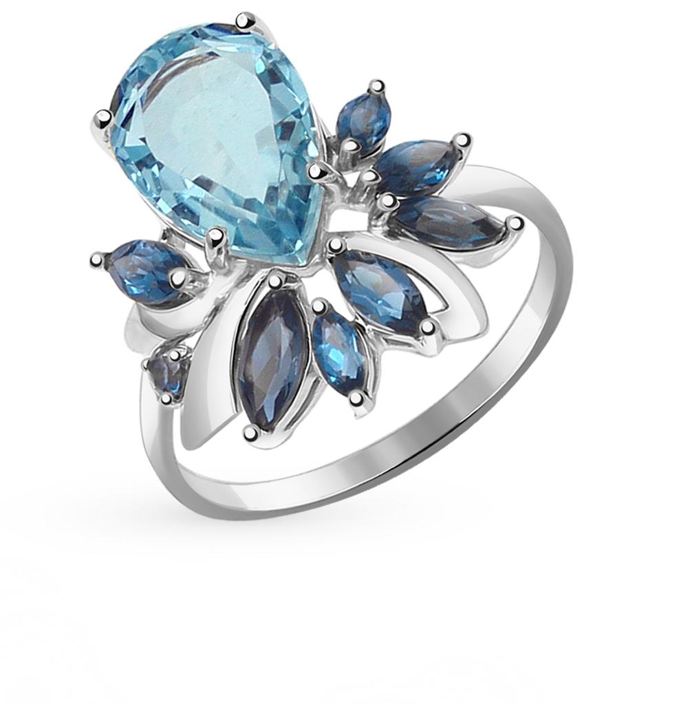 золотое кольцо с кварцем и топазами SOKOLOV 714408Б*