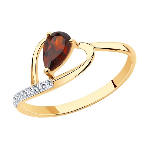 Фото «Золотое кольцо с гранатом SOKOLOV 715936*»