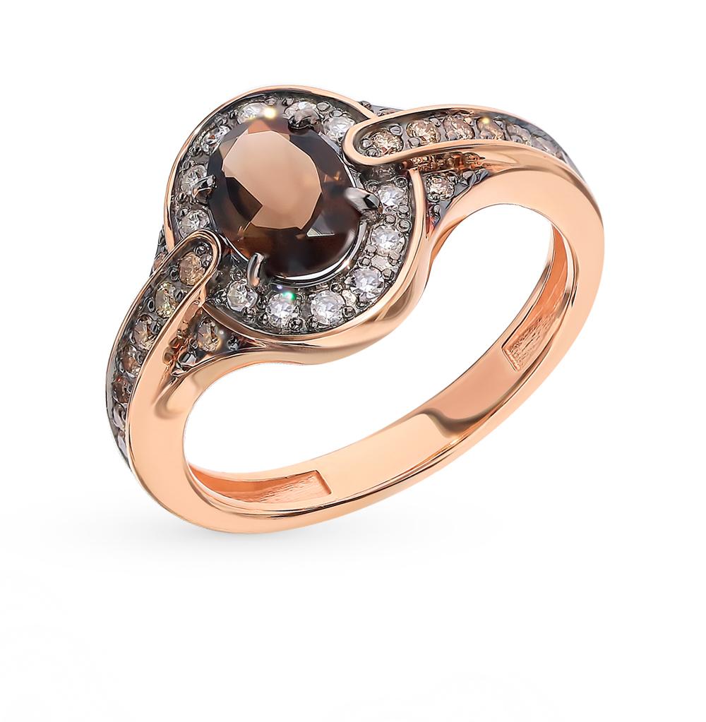 Золотое кольцо с коньячными бриллиантами и раухтопазом в Екатеринбурге