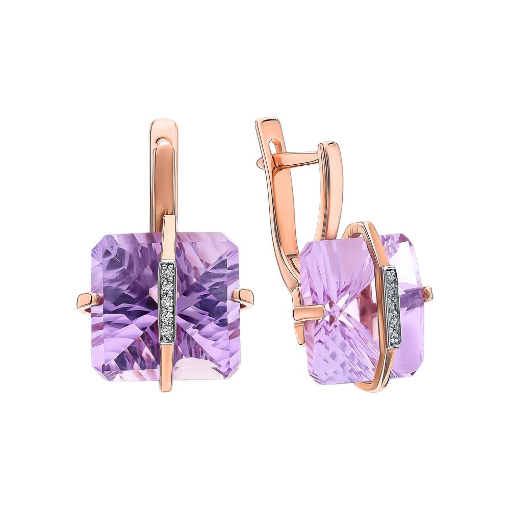Фото «Золотые серьги с аметистом и фианитами»
