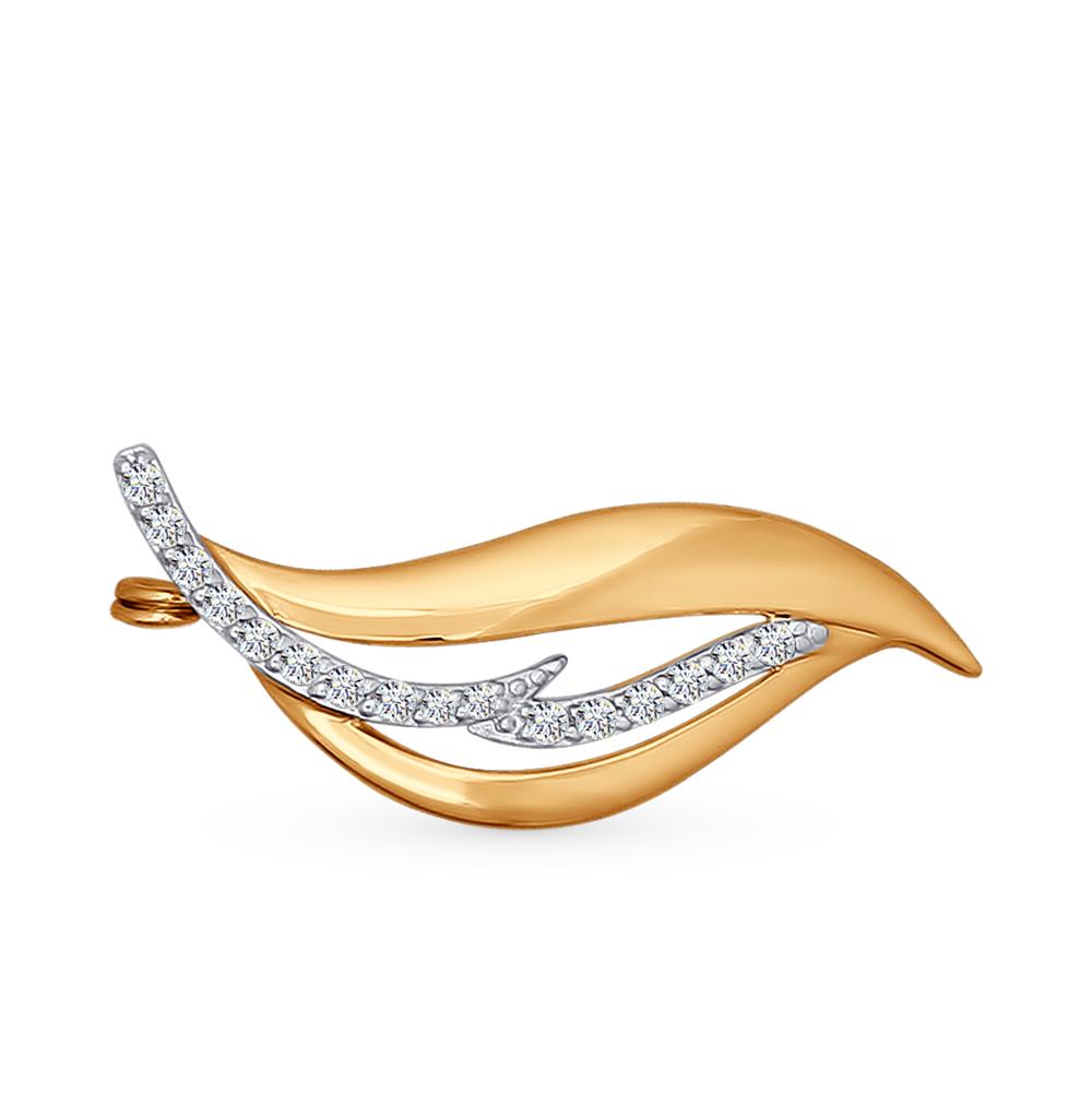 золотая брошь с фианитами SOKOLOV 040158*