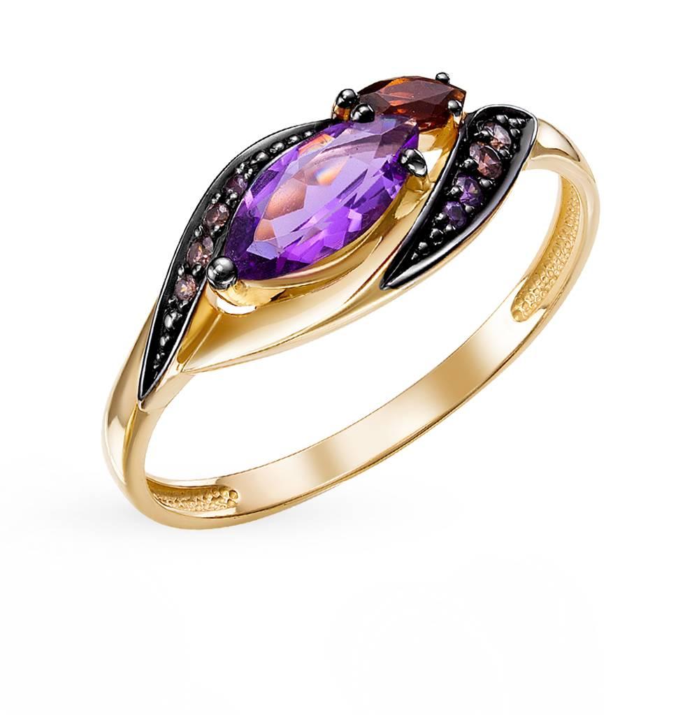 золотое кольцо с аметистом, фианитами и гранатом