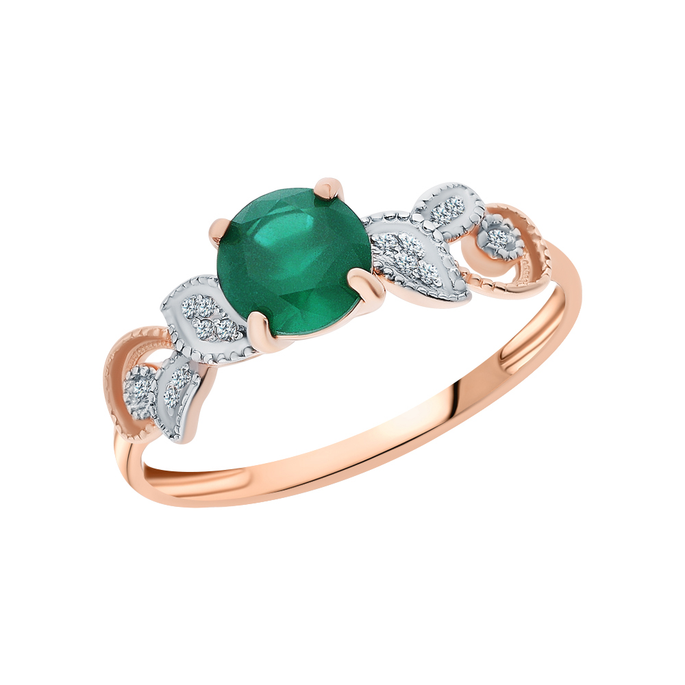 Серебряное кольцо с агатом и кубическими циркониями в Санкт-Петербурге