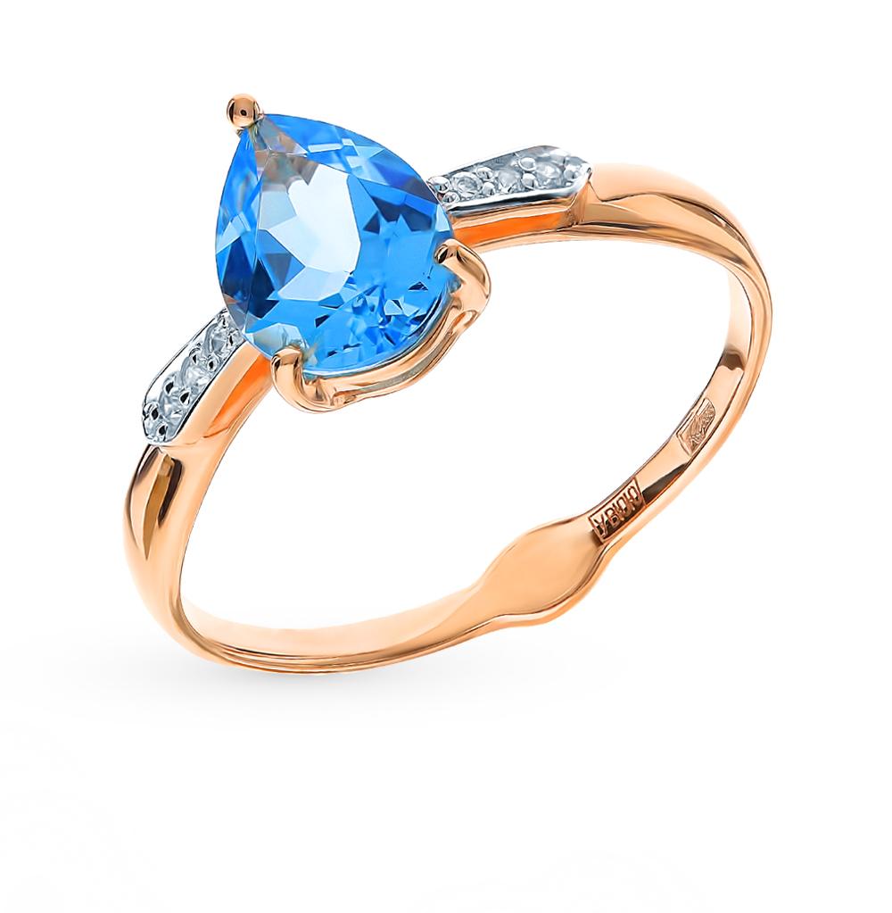 Золотое кольцо с топазом и фианитами SOKOLOV 715341*