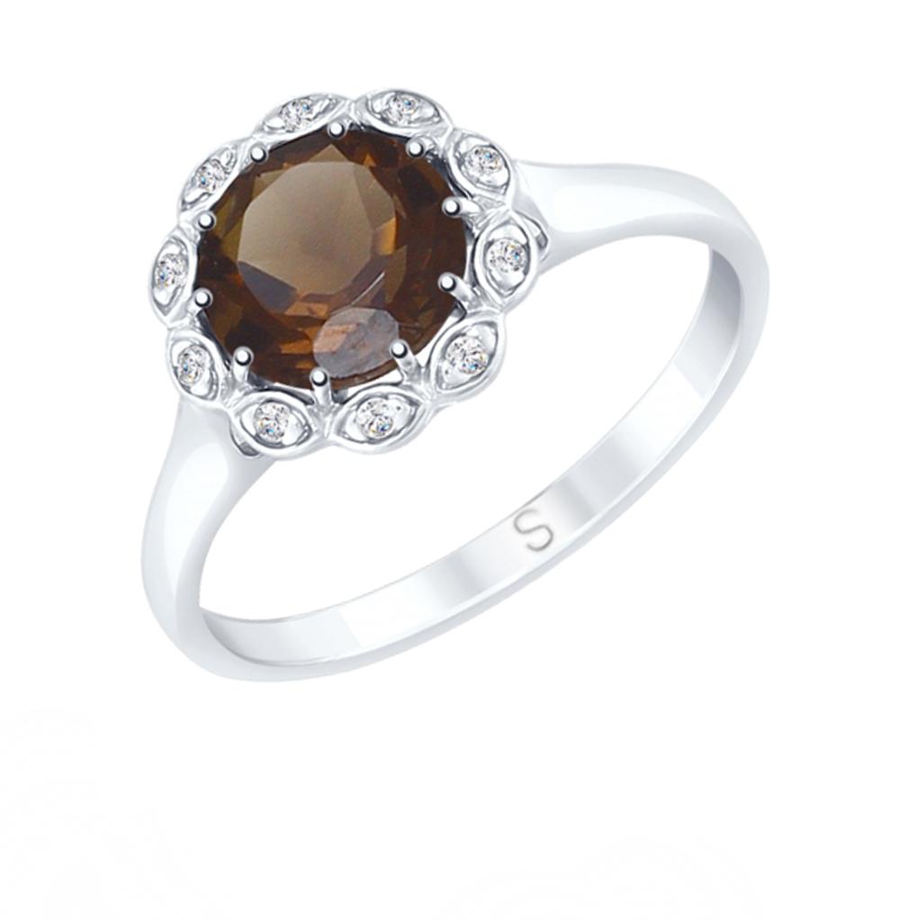 Фото «Серебряное кольцо с раухтопазами и фианитами SOKOLOV 92011640»