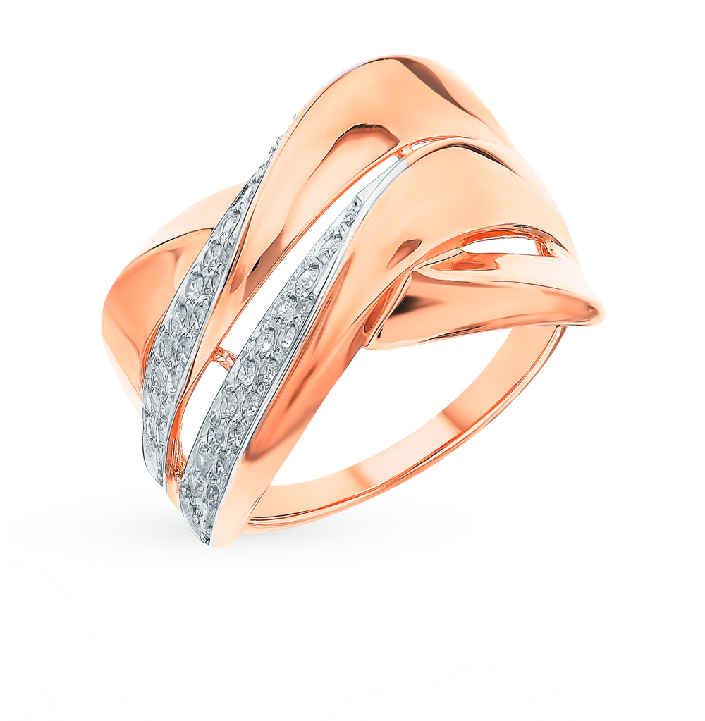 золотое кольцо с фианитами SOKOLOV 018294*