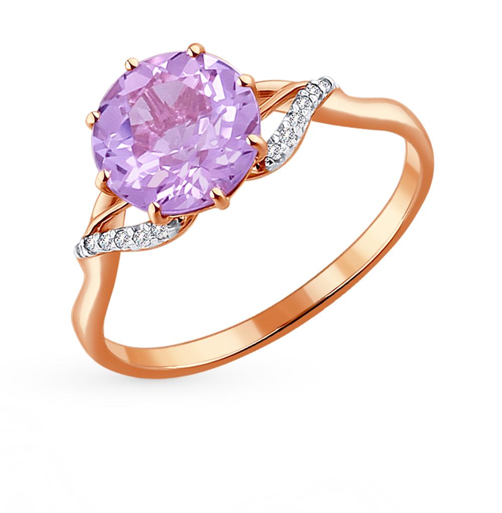 Фото «Золотое кольцо с аметистом и фианитами SOKOLOV 714010*»