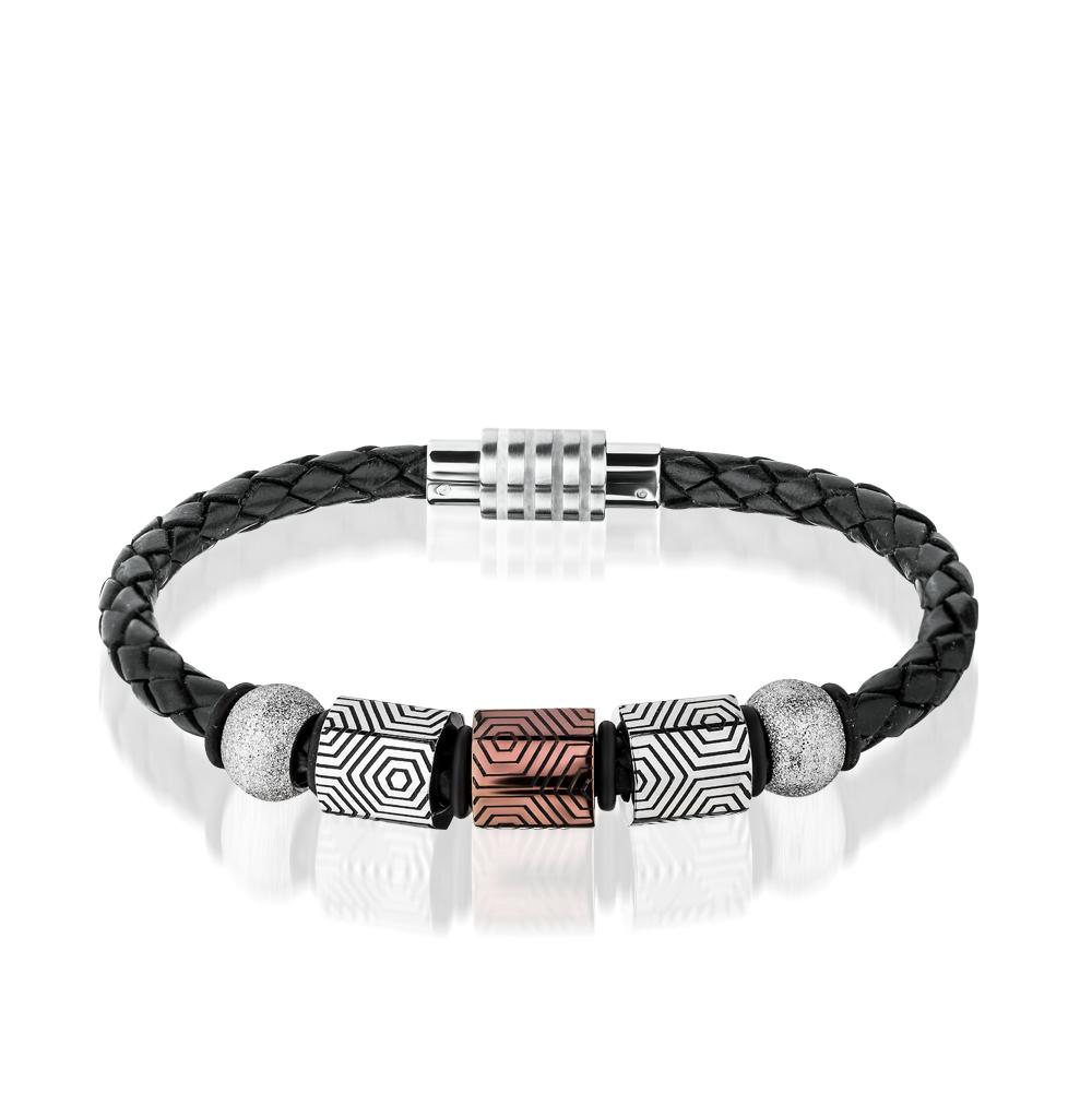 Фото «браслет из каучука и кожи с со сталью»