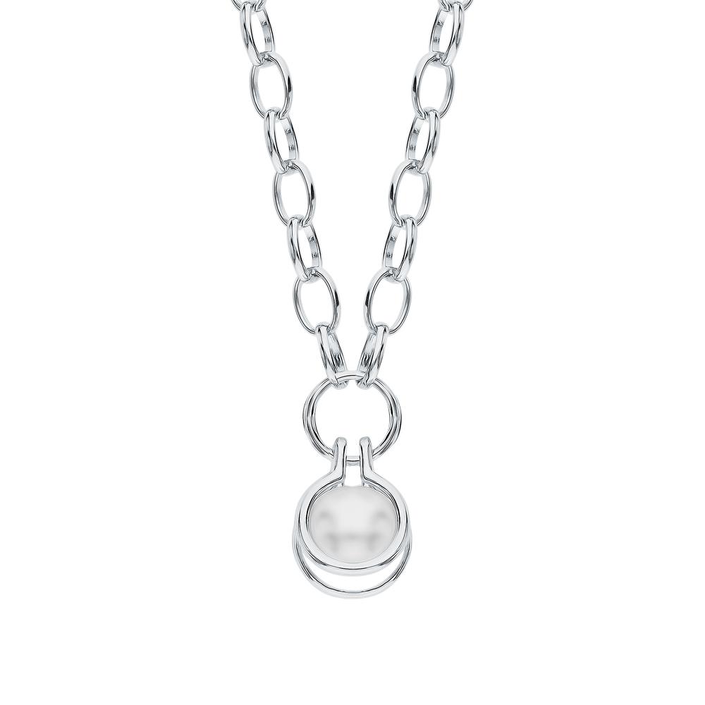 Фото «Серебряное шейное украшение с имитацией жемчуга»