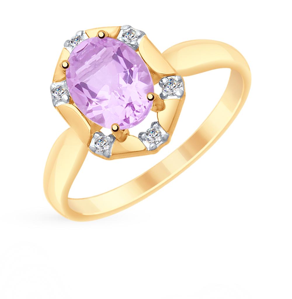 золотое кольцо с аметистом и фианитами SOKOLOV 715292*