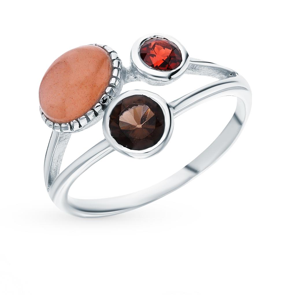 Серебряное кольцо с гранатом, кварцами дымчатыми и лунными камнями в Екатеринбурге